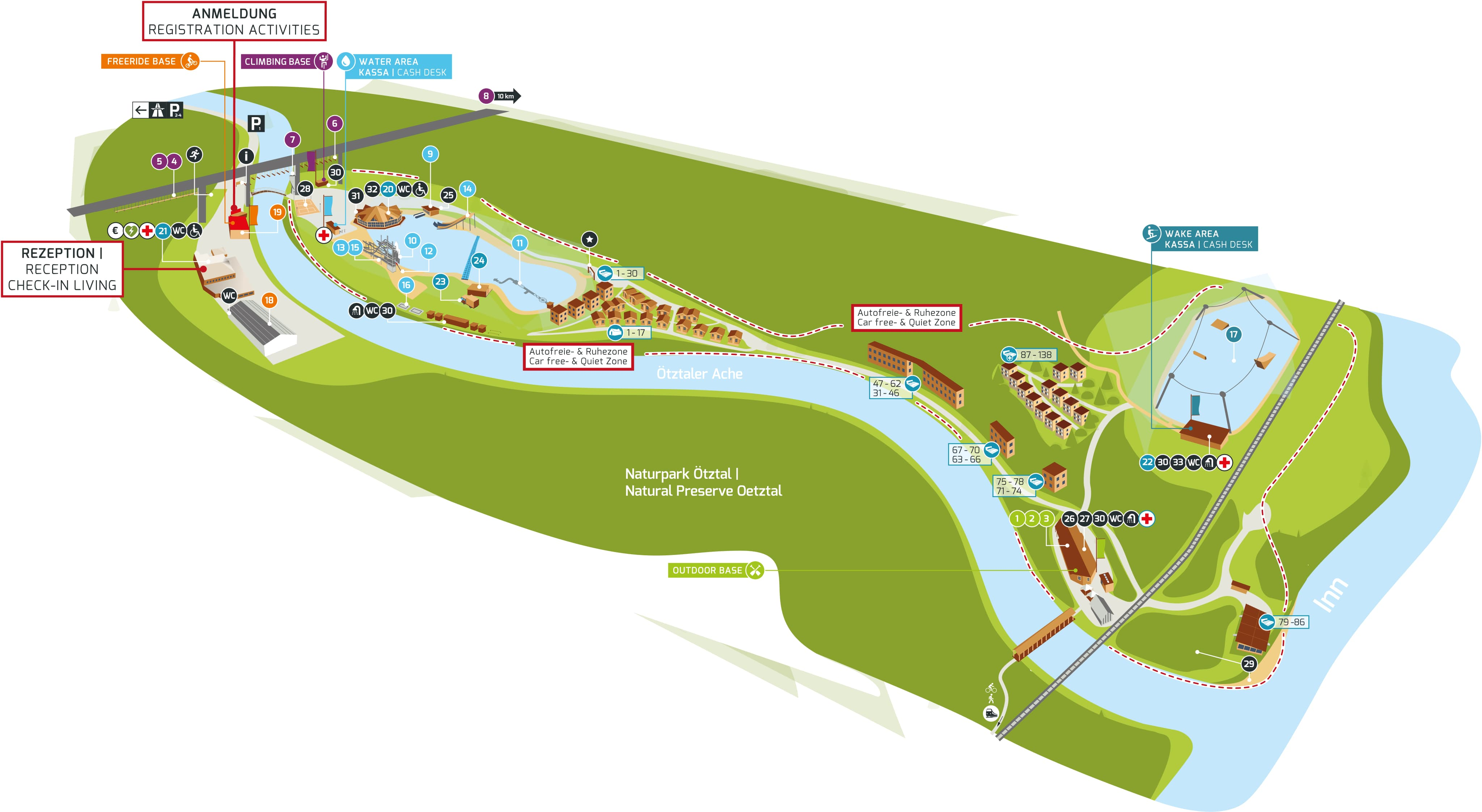 Eine Karte des AREA 47 Geländes