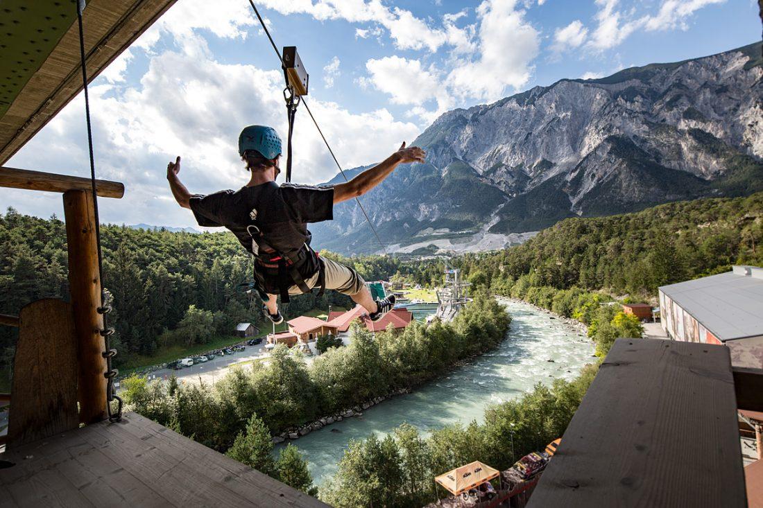 Ziplining at AREA 47