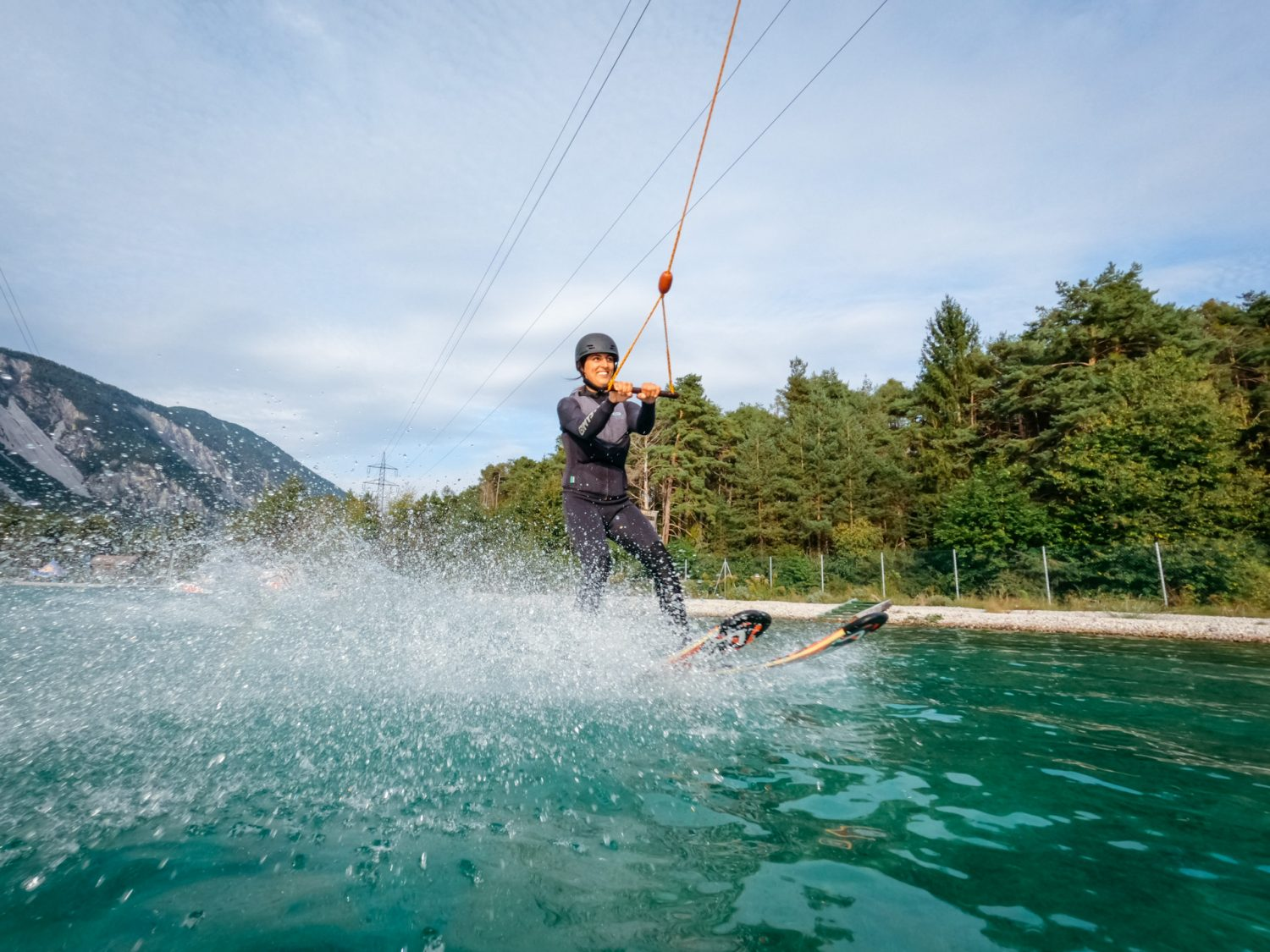 Waterskiing at Wake AREA in Tyrol, Austria