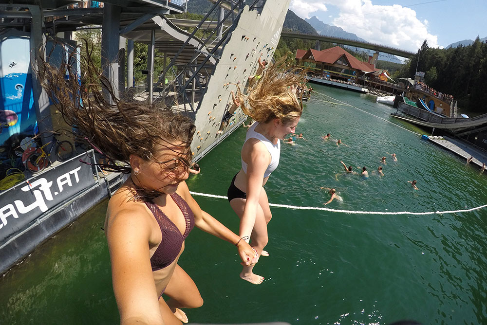 cliff diving in tyrol