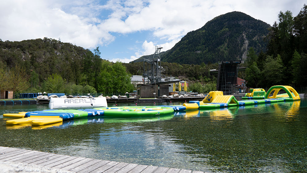 Inflatable water park in Tirol