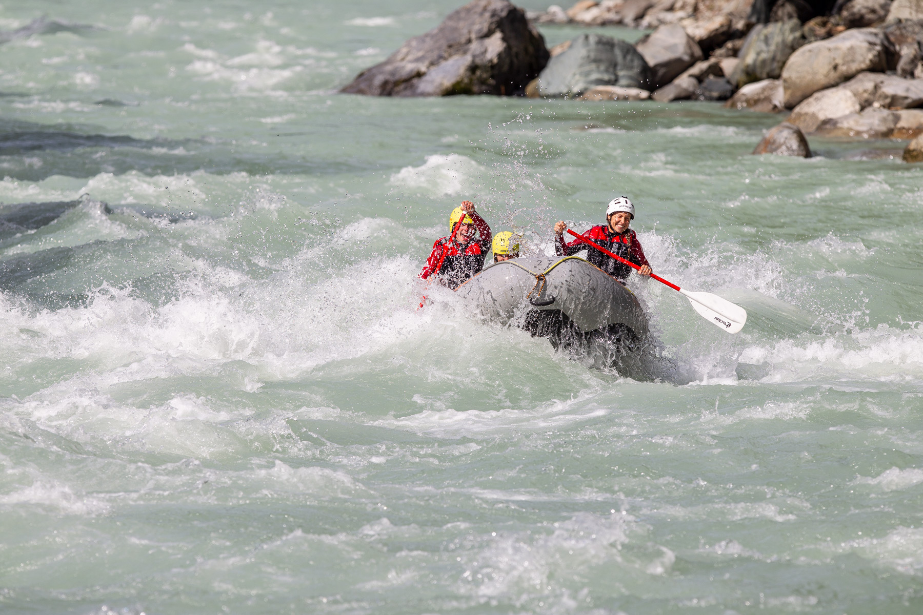 Action beim Power Rafting